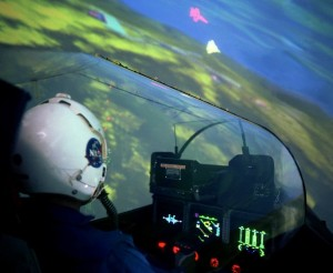 Fighter jet pilot in simulator