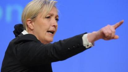 President of French far-right party Front national (FN) and candidate for the 2012 French presidential election, Marine Le Pen gestures as she speaks during a campaign rally on February 12, 2012, in Strasbourg, eastern France. AFP PHOTO/FREDERICK FLORIN (Photo credit should read FREDERICK FLORIN/AFP/Getty Images)